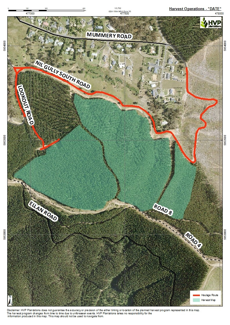 Map of harvest area and haulage route in Nil Gully, Myrtleford
