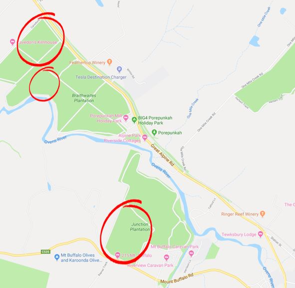 Map showing three locations to be thinned in Braithwaites and Junction Plantations May-June 2019