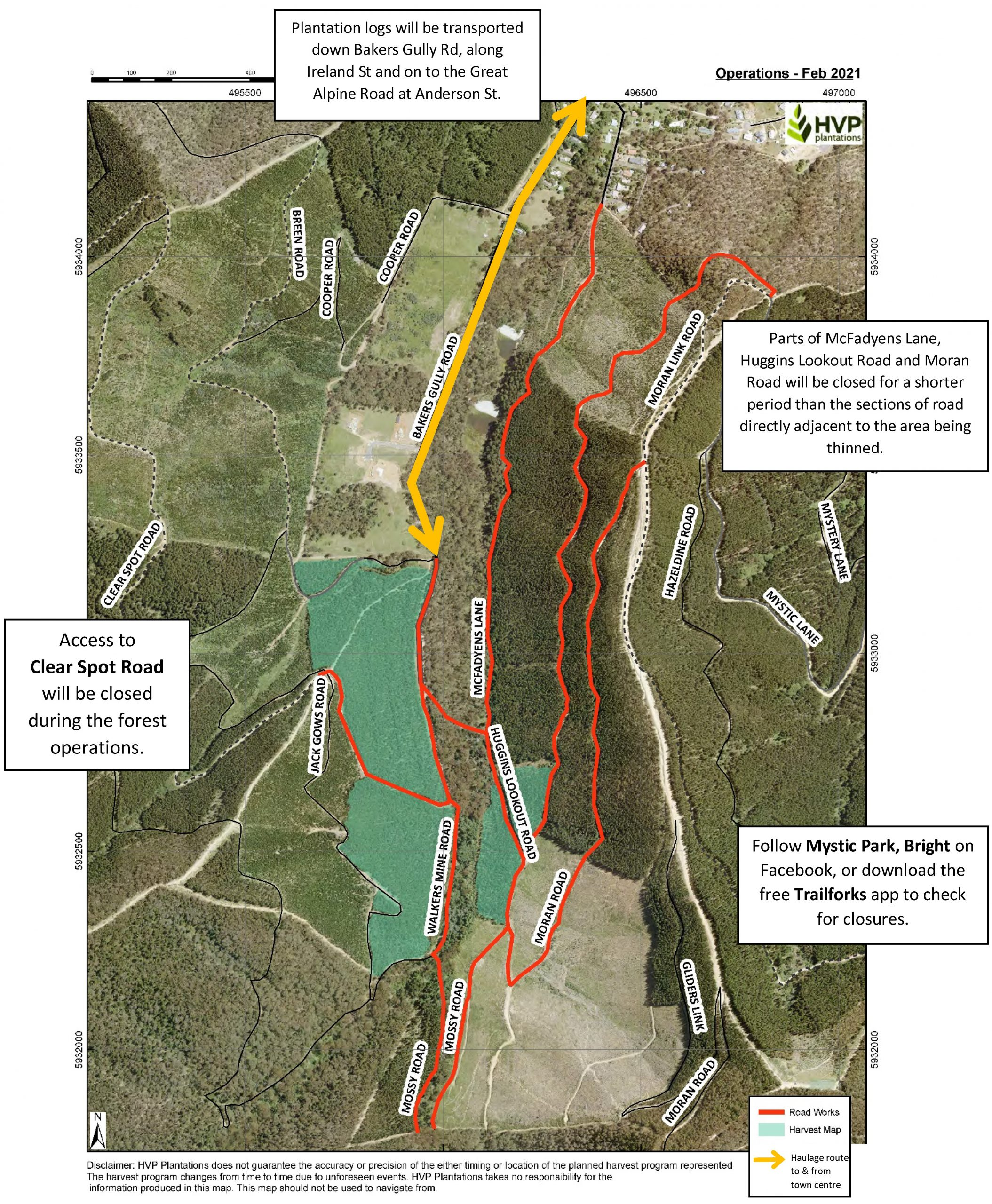 Map showing areas of Bakers Gully with Feb/Mar 2021 forest operations