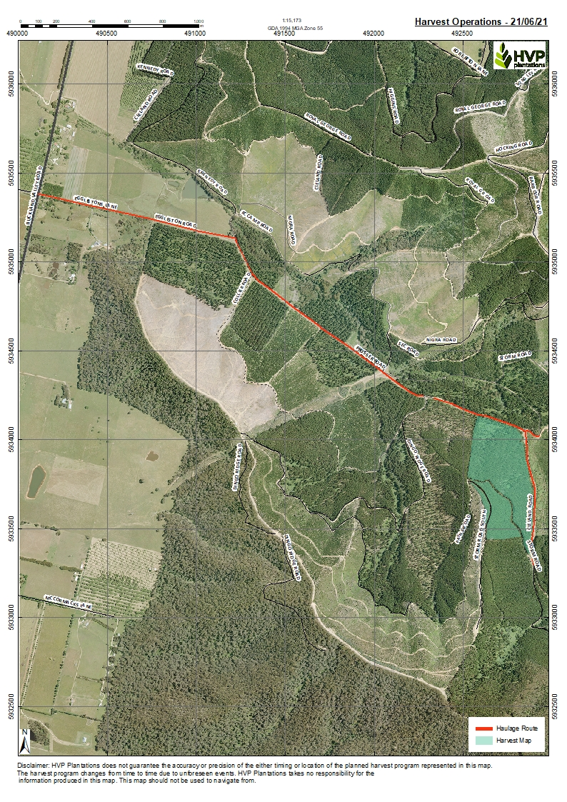 Map showing the section of the Buckland Plantation to be harvested